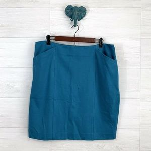 Cabi Teal Blue Sigourney Straight Pencil Skirt